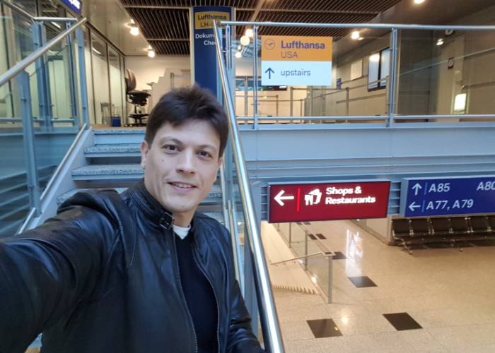 eduard at the airport on his way to new york