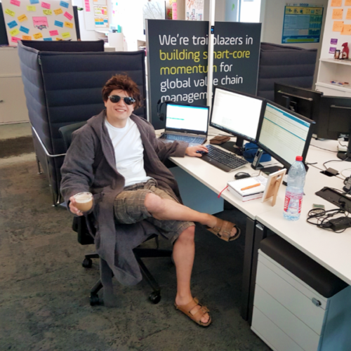 our software developer eduard in a bathrobe